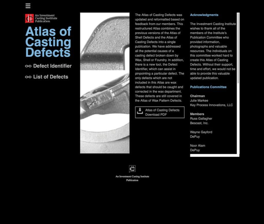 Atlas of Wax & Casting Defects - Investment Casting Institute